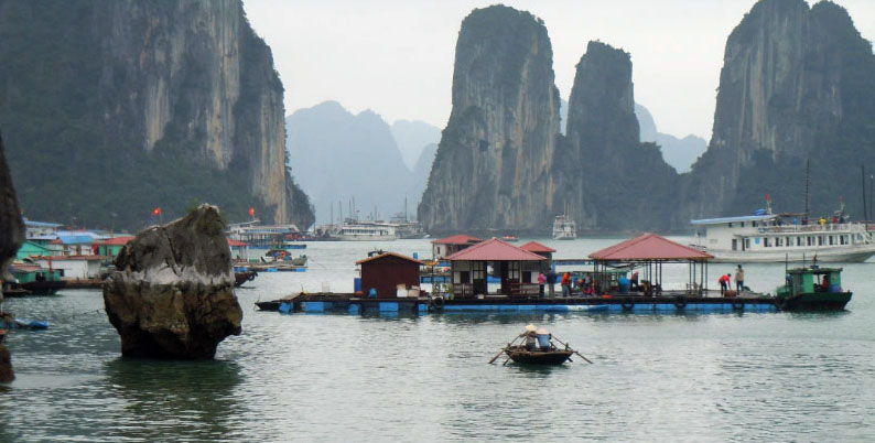 Fishing village in Halong Bay, Vietnam